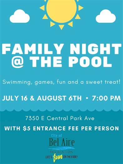 Family Night at the Pool on July 16th and August 6th at 7:00 p.m. Swimming, games, fun, and a sweet treat.