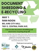 Document shredding and e-recycling at City Hall on May 1st.