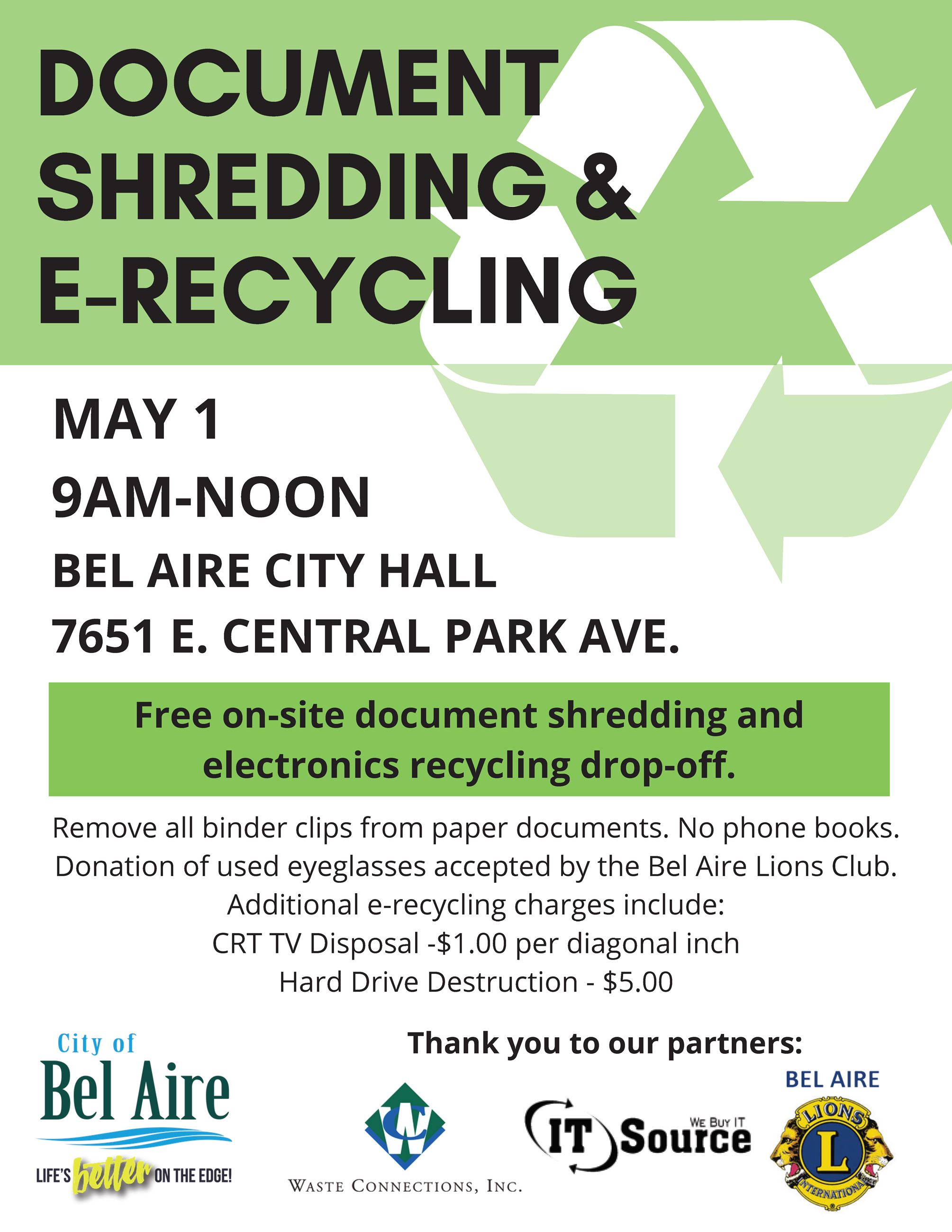 Document and e-recycling event on May 1st at 9:00 a.m. to noon at Bel Aire City Hall parking lot.