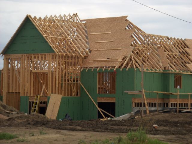 A house being constructed of wood