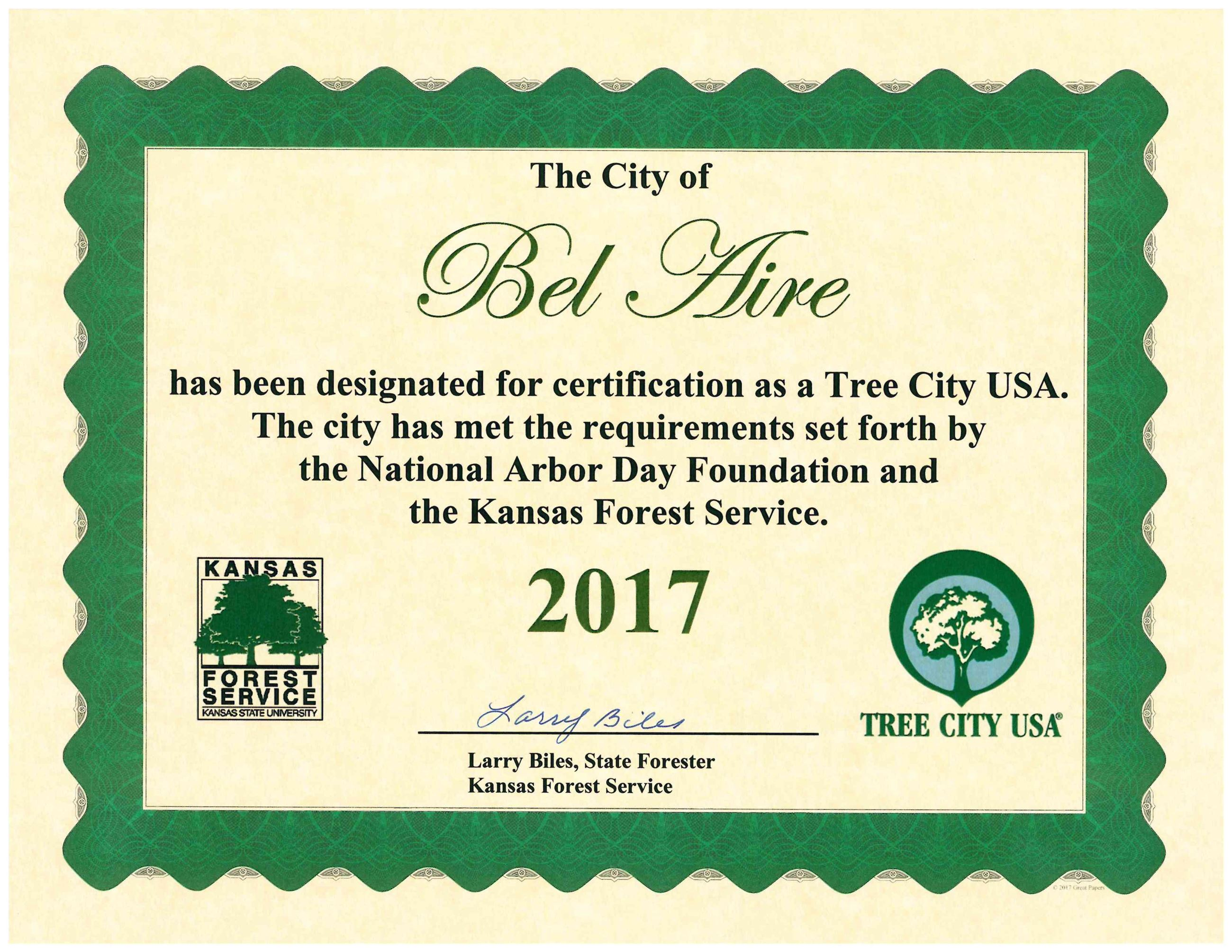 2017 Tree City USA Certification