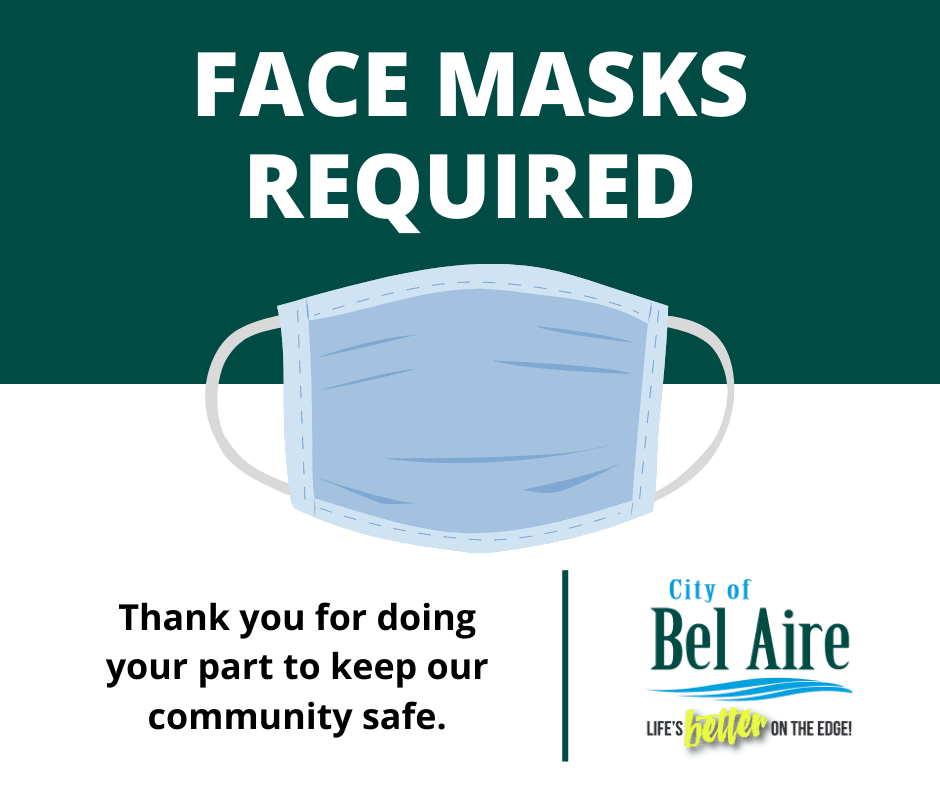 Face masks required inside city buildings per Sedgwick County order.
