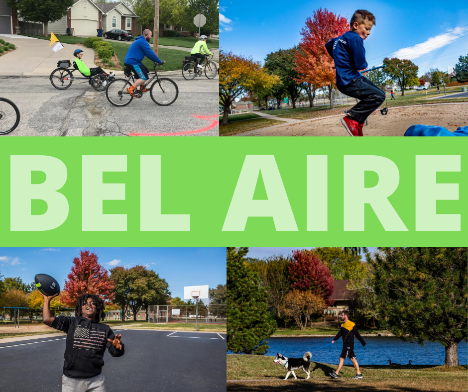 Pictures of active residents on bicycles, jumping, walking dog, and throwing football.