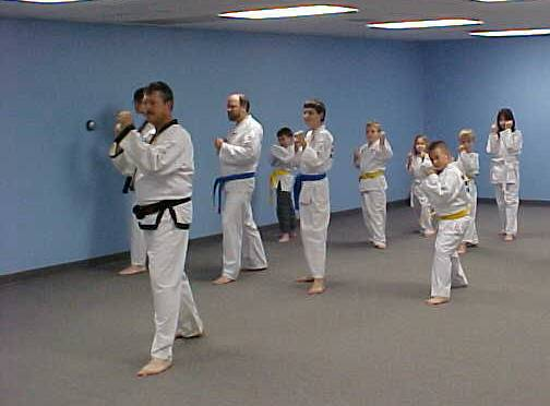 A class of many different people learning Tae Kwon Do
